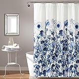 Lush Decor Zuri Flora - Cortina de Ducha, diseño de Acuarela, Color Azul Marino