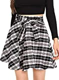 Milumia Women High Waist Business Casual Mini Over Knee A Line Pleated Skater Skirts with Belt Black
