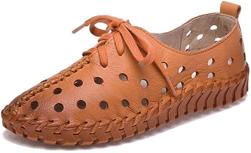 YAN Sandalias de Las damenes Nuevo 2019 Loafers & Slip-ons Suave Inferior Cuero Madre schuhe Ronda Cabeza Plana Agujero schuhe schwarz grau braun,braun,39