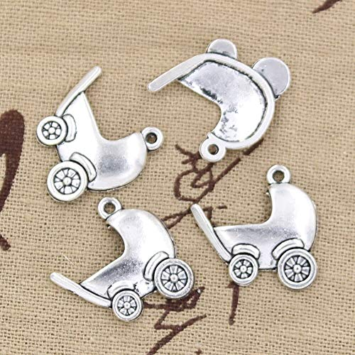 RQMQRL 20pcs Charms Baby Carriage Buggy Pram 20X21mm Antique Silver Color Pendants Diy Crafts Making Findings Handmade Tibetan Jewelry