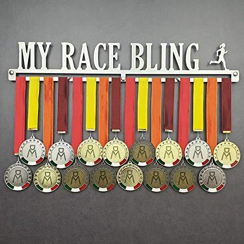 MEDALdisplay MY Race Bling - Colgador de medallas Deportivas Hembra - Medallero de Pared Running, Corredor, Maratón - Sport Medal Hanger (F 600 mm x 100 mm x 3 mm)
