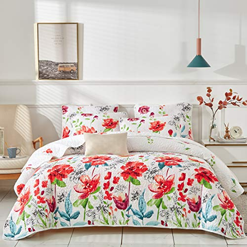 Uozzi Bedding 3 Piece Queen Reversible Floral Quilt Set White Red Green Colorful Soft Microfiber Lightweight Summer Coverlet Red Flowers Adult Bedspread for All Season -1 Quilt +2 Pillow Shams