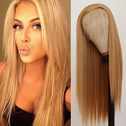 QD-Tizer Lace Front Wigs, Long Straight Hair Honey Blonde Wig Glueless Heat Resistant Fiber Hair Synthetic Lace Front Wigs for Fashion Women 22 inch