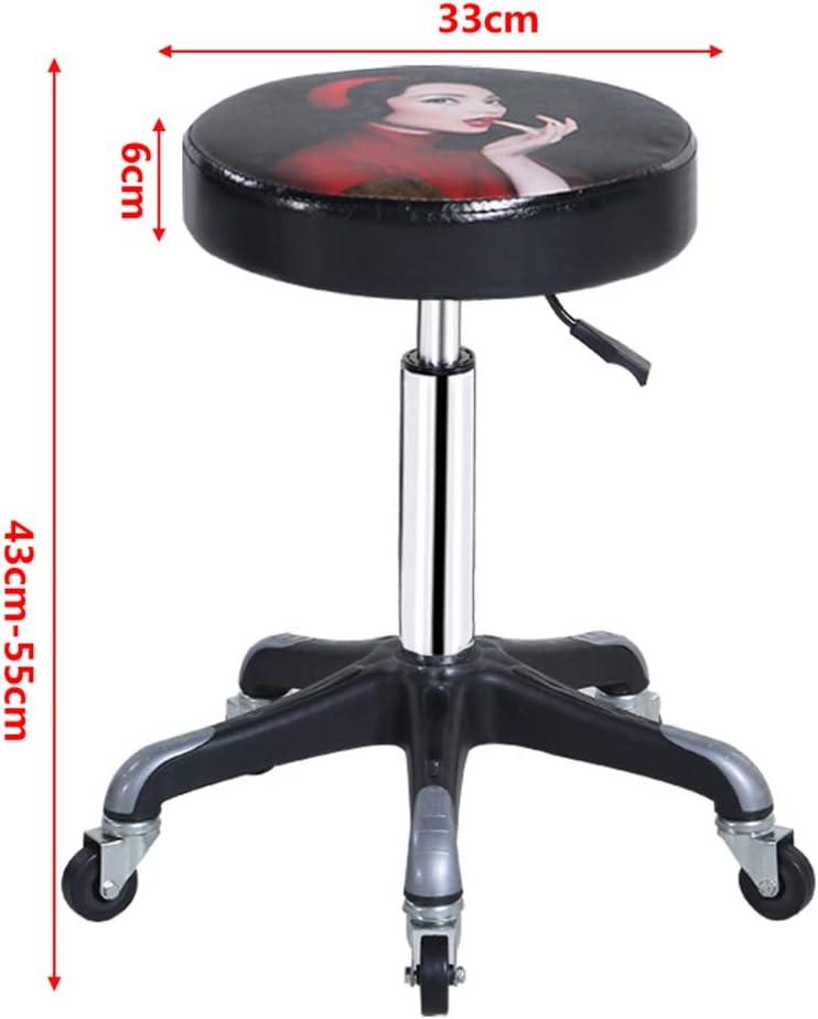 Tabouret De Travail À roulettes Coussin en PU Chaise Pivotante Chaise De Bureau avec Roues Rotation À 360 Degrés Rembourrage Doux en Simili Cuir,D C