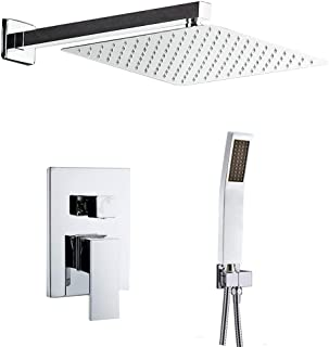 Rainfall Shower System, STARBATH Wall Mounted Shower Set for Bathroom with 12'' Shower Head and Handheld Mixer Shower Combo Set, Shower Faucet Rough-in Mixer Valve and Trim Included(Chrome)