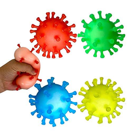 TradeInc Enterprises Covid 19 Toy Gift Coronavirus De Stress Balls Gifts Squishy Sensory Fidget Toys Squishies Pinata Stuffers Party Favors (4 Pack)