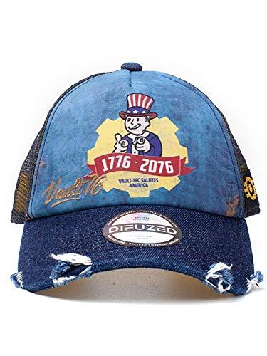 Fallout Unisex Vault 76 Vintage Trucker Cap Baseballkappe, Blau (Blau Blau), One Size