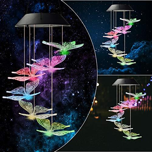 Urban Deco Solar Lichterketten, Farbwechsel LED Mobile Kolibri Windspiele, wasserdichte Solarlichter für den Innenhof Patio Garden (Schmetterlinge Glockenspiel)