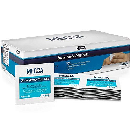 Almohadillas de preparación - Caja de 400, Toallitas de 70% de alcohol isopropílico, Toallitas antisépticas estériles Envueltas individualmente de algodón de 2 capas para limpieza higiénica.