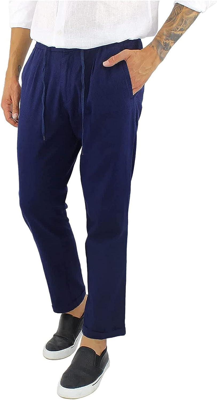 Huangse Men's Workout Athletic Pants Solid Color Elastic Waist Jogging Running Pants for Men with Drawstring Pockets