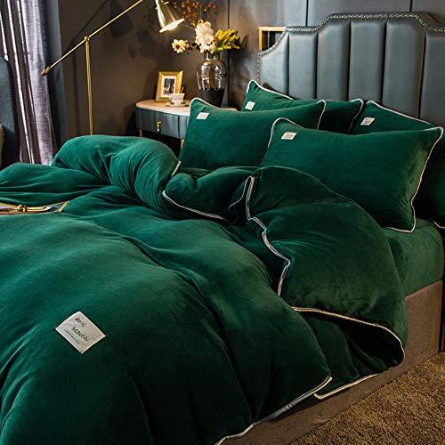 Individual Funda de edredón y Funda-Ropa de cama de franela gruesa de doble cara de invierno sábana de cama de cuatro piezas edredón conjunto europeo regalos para niños y niñas-Q_Colcha de 1,5 m (4 p