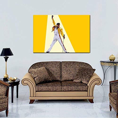 MZCYL Leinwand Malerei Wandkunst Bild Freddies Mercuries Königin Gelb Lederjacke Musik Sänger Poster Drucken Leinwand Malerei Ohne Rahmen 40 * 60 cm