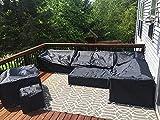 Fundas de Muebles de jardín,Impermeable Cubierta de Exterior Funda Protectora Muebles,Cuadrado,para Sofa de Jardin,al Aire Libre,Mesa y Sillas,110x100x75,Negro
