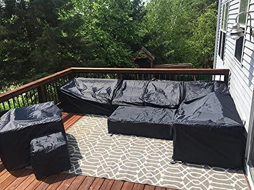 Fundas de Muebles de jardín,Impermeable Cubierta de Exterior Funda Protectora Muebles,Cuadrado,para Sofa de Jardin,al Aire Libre,Mesa y Sillas,180x170x75,Negro