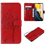 Cofola Coque Sony Xperia Z5 Compact / Z5 Mini, Gaufrage Arbre et Chat Leather Cuir Rabat Wallet Case...
