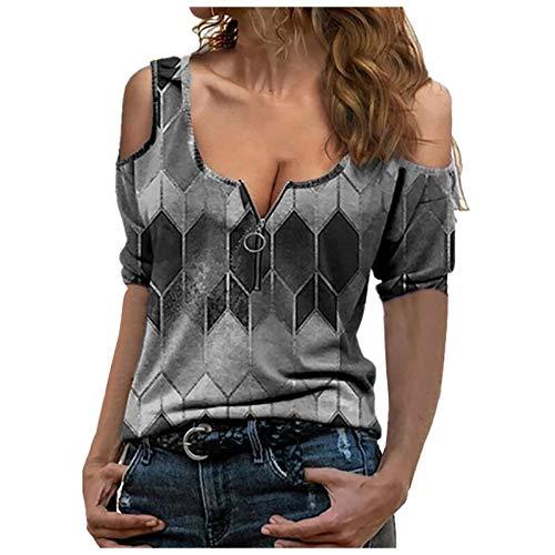 LPPL Blusa de manga larga para mujer, estilo halter, estilo informal, de color sólido, para mujer, Negro-3, XXL