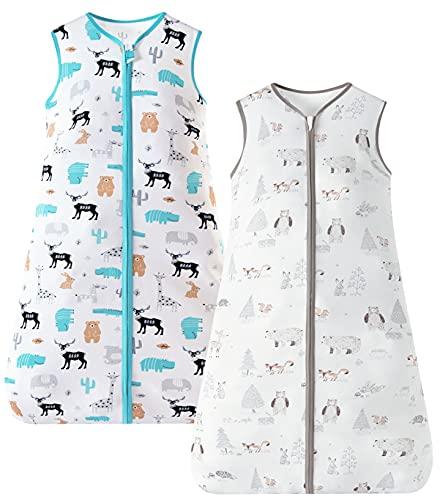 Chilsuessy Sommerschlafsack 2er-Pack Baby Schlafsack Kleine Kinder Schlafanzug ohne Ärmel für Sommer und Frühling 100% Baumwolle,Wald + Wilde Tiere,130/Baby Höhe 130-150cm