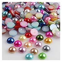 SHUOYUE 2/3/14 14 14/14/14 14 mmアクリルビーズ真珠の模倣ハーフラウンドフラットバックレッドブラックピンクビーズのジュエリー作り (Color : Multicolor, Size : 14mm x 50pcs)