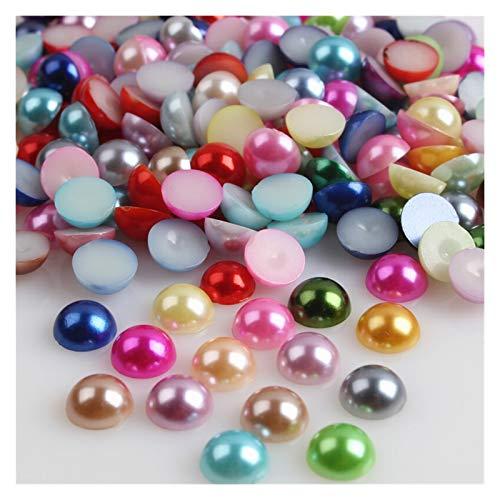 WEIGENG Cuentas de acrílico de 2/3/4/5/6/8/10/12/14 mm, imitación de perlas medias redondas de color rojo negro y rosa para hacer joyas (color multicolor, tamaño: 3 mm x 400 unidades)