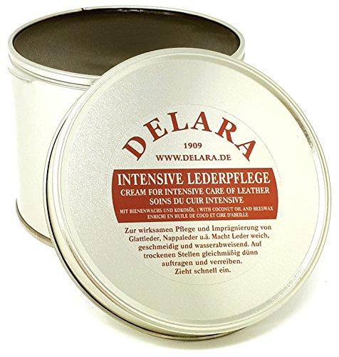 DELARA Intensive Lederpflege, braun, 500 ml - Imprägniert und schützt Leder sehr wirksam. Neue Rezeptur mit hochwertigem Kokosöl und Bienenwachs - Made in Germany
