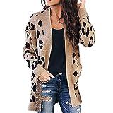 ღLILICATღ Mujeres Cárdigan Manga Larga Leopardo Chaqueta de Punto Jersey de Suelta Punto con Frente Abierto Rebecas Abrigo