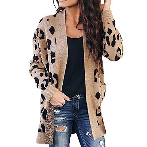Damen Leopard Cardigan Leo Cardigan Langarm Open Front Leopardenmuster Button-Down Strickpullover Strickjacke Mantel Outwear mit Taschen, Frauen Elegant Mantel Trenchcoat Oversize Khaki