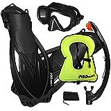 Promate Black, SM, scs0003, Snorkeling Mask Fins Dry Snorkel Set Gear Bag