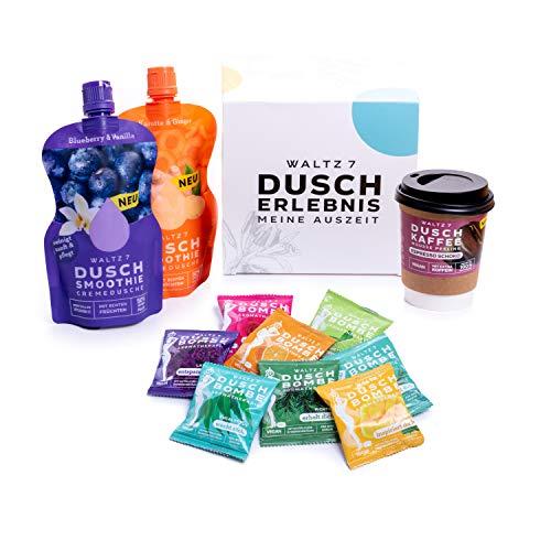 Waltz7 Superfood Genuss Set zum Duschen, Körperpflege und Entspannung, mit Kaffee Körperpeeling und Creme Duschgel, österreichische Qualitätsmarke, Bodycare Pflegeset, Geschenkidee