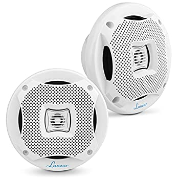 "6.5"" Dual Waterproof Marine Speakers - 400W 4Ohm Outdoor Car/Boat Radio Stereo Speakers Waterproof/Weather Proof Marine Stereo Speakers System Pair - Mounting Kit Speaker Wire Grill- Lanzar AQ6CXW"