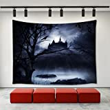 LBKT Tapestries Wall Hanging for Halloween Party,Gothic Decor Horrible Dark Night Scary Castle Crow Raven Bird Halloween Theme Print Tapestry Wall Art for Home Decor Decoration 60'x40'