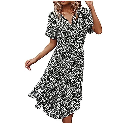 FQZWONG Dress for Women Casual Solid V Neck Short Sleeve Chiffon Print Ruffle Frenulum Dress for Holiday Dating Beach(Black,Large)