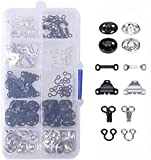 50 Pairs 3 Styles Skirt Hooks and Eyes Sewing Hook, Sewing Snaps Clothing Fixing Tools with Metal Snaps Buttons Fasteners Press Studs for Trousers Skirt Dress Bra Sewing DIY Crafting, 2 Colors