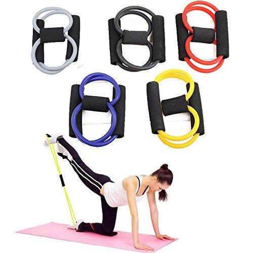 初心者・高齢者向け 8の字型のトレーニングチューブ エクササイズバンド ヨガストレッチ器具 エキスパンダー レジスタンスバンド ヨガ リハビリ エクササイズ ストレッチ 筋トレ ダイエット 運動などに適用します