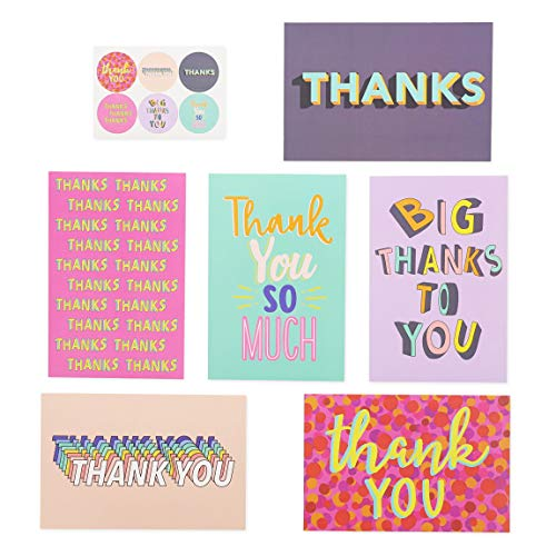 Fun Thank You Opmerkingen met Sticker, 48 Pack, 4 x 6 inch, Trend Color