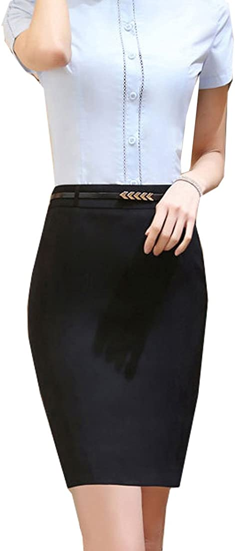 S&S-women High Waist Bodycon Pencil Skirt Wear to Work Strethcy Short Fitted