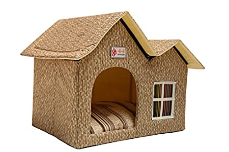 ZPPMC Luxury Double Roof Dog House Room Cat Bed Pet Crates for Dogs Portable Folding Kennel for Pets Indoor Outdoor High-end (Beige)