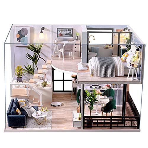 Fsolis Miniatura casa delle Bambole con mobili,3D Fai da Te Kit di Dollhouse di Legno Oltre a Prova di Polvere e Il Movimento della Musica Regalo Creativo L032