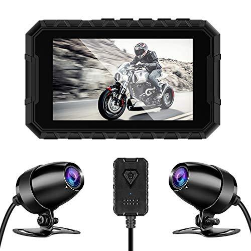 """BaiTTang Motorbike Dash Cam-1080P Visión Nocturna Dual Lente, cámara Deportiva Delantera y Trasera Impermeable, Pantalla de 3\""""HD IPS, grabación de Bucle, Ideal para Viajes al Aire Libre"""