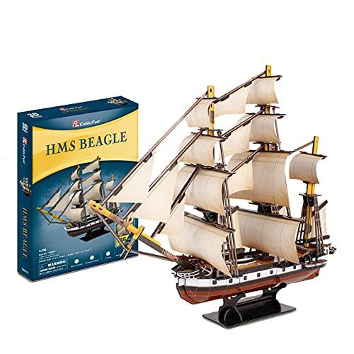 KUKU Rompecabezas Tridimensional 3D, Modelo De Barco Creativo De Juguete Buque De Guerra Británico Beagle Modelo Manual Ensamblado DIY Niños Y Adolescentes