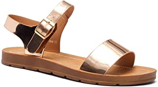 Herstyle Women's Sannibel Open Toes One Band Ankle Strap Flat Sandals