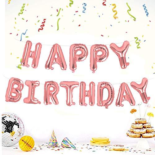 Camelize Happy Birthday Ballons Banner,selbstaufblasendes Luftballons ,Buchstaben Folien Banner,Geburtstag Luftballons,Buchstaben Folien Banner,Folienluftballon Dekoration für Partydekoration,Roségold