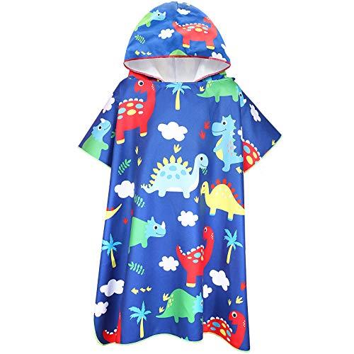 Tacobear Toalla Poncho para Infantil Toalla de Playa con Capucha de Dibujos Animados de Microfibra Albornoz con Capucha de Secado Rápido Baño Ducha Piscina para Niños Niñas(Azul Oscuro-Dinosaurio)