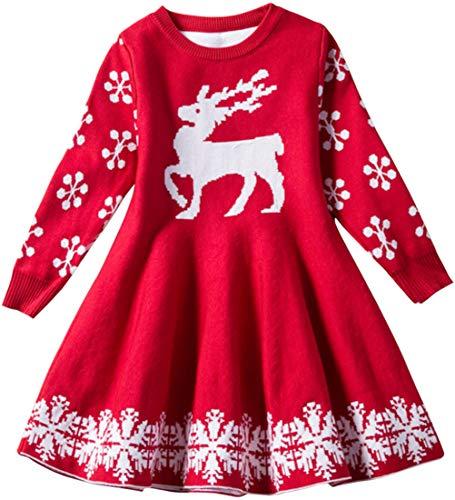 EUDOLAH Navidad Lindo Vestido Dulce de Punto Niña con Estampado Alces y Copos Nieve Suéter Invierno Cálido(Rojo,M(110cm)