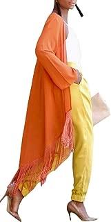 Macondoo Womens Fall Winter Outwear Oversized Open Front Tassel Cape Trench Coat