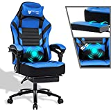 Fantasylab Reclining Gaming Chair 400lb Big and Tall Massage Computer Game Chair with Retractable Footrest for Kids Racing Chair High Back Office Chair Memory Foam Ergonomic Metal Base Leather Chair