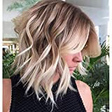 Becus Lace Front Synthetic Short Wave Bob Ombre Brown to Blonde Golden Highlight peluca para mujeres