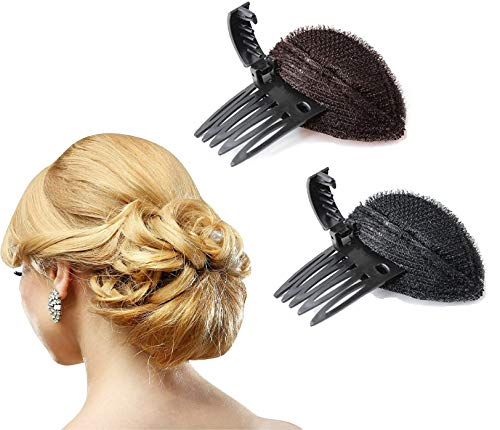 2pcs Women Invisible Fluffy Hair Pad Sponge Clip Bun Maker