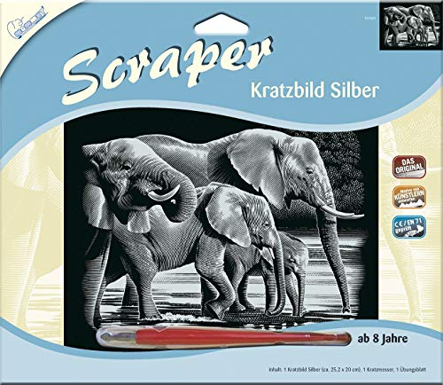 MAMMUT 137001 - Kratzbild, Motiv Elefanten, silber, glänzend, quer, Komplettset mit Kratzmesser und Übungsblatt, Scraper, Scratch, Kritzel, Kratzset für Kinder ab 8 Jahre