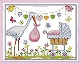 Punto de cruz Kit Bordados para niños y adultos,certificado de nacimiento,16 x 20 pulgadas DIY costura punto de cruz set decoración de pared principiante(11CT)