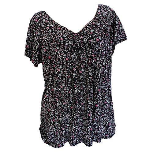 JURTEE Camiseta para Mujer Moda Estampado De Flores Cuello En V T-Shirt Manga Corta Blusa Talla Grande Casual Tops